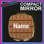 CHOCOLATE PRINT PERSONALISED NAME GIFT COMPACT LADIES METAL HANDBAG MIRROR